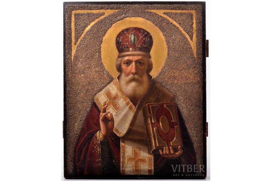 icon, Saint Nicholas the Miracle-Worker, board, painting, guilding, Russia, the 19th cent., 34.3 x 27.5 x 2.7 cm