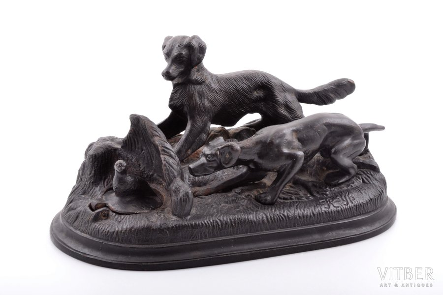 inkstand, Dogs at partridge, cast iron, 11 x 21.5 x 12.2 cm, weight 1874.30 g., USSR, Kamensk-Uralsky Foundry, the 50ies of 20th cent., damaged hinge of ink-pot lid