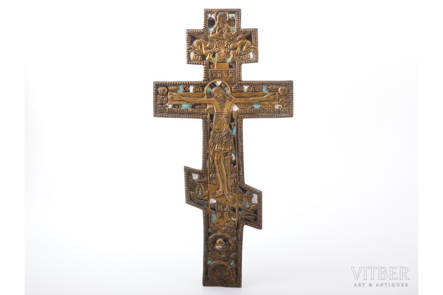 cross, The Crucifixion of Christ, copper alloy, 3-color enamel, Russia, the border of the 19th and the 20th centuries, 34.1 x 17.2 x 0.6 cm, 634.90 g.