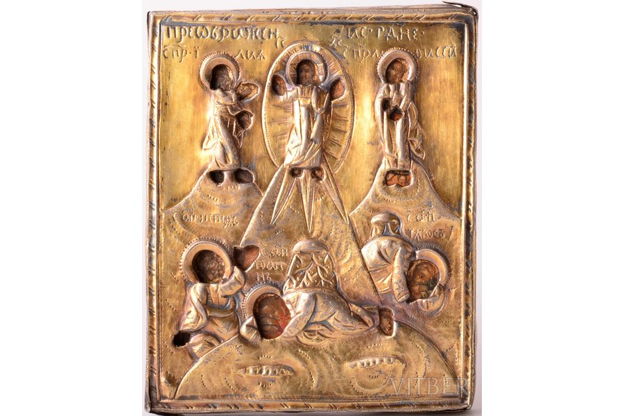 icon, Transfiguration of Jesus, board, silver, painting, guilding, 84 standart, Russia, 1798, 10.6 x 8.5 x 0.9 cm, oklad weight 44.05 g