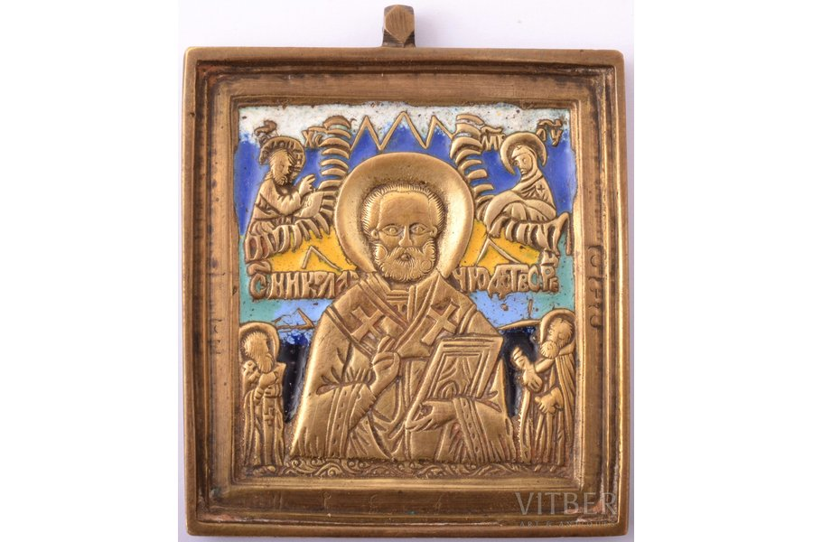 icon, Saint Nicholas the Wonderworker, copper alloy, 6-color enamel, by Rodion Khrustalev, Russia, the end of the 19th century, 6.6 x 5.5 x 0.5 cm, 66.70 g.