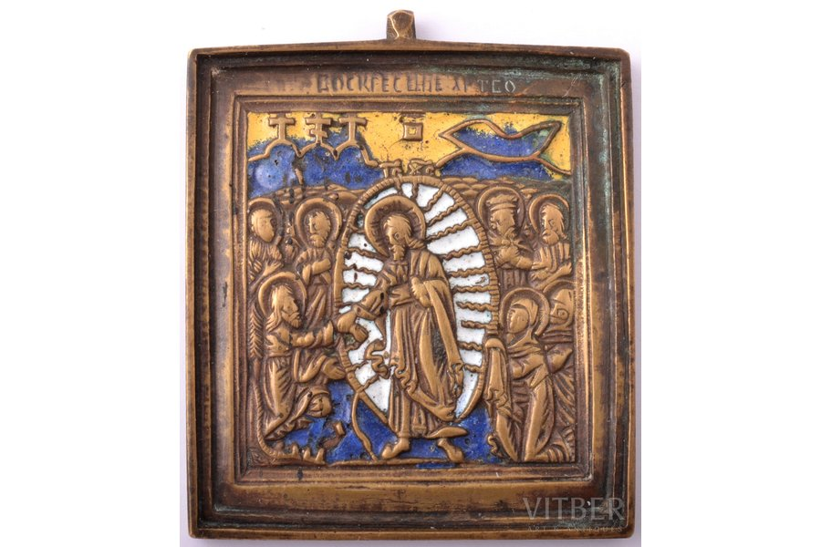 icon, The Resurrection of Christ. Descent into Hades, copper alloy, 3-color enamel, Russia, the border of the 19th and the 20th centuries, 6.2 x 5.2 x 0.4 cm, 73 g.