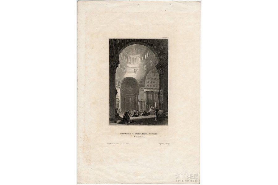Interior of the Nikolskoi Church, St.Petersburg (Inneres der Nikolskoi kirche), the middle of the 19th cent., paper, steel engraving, 14.1 x 9.6 cm, publisher: Hildburghausen, Bibliographisches Institut