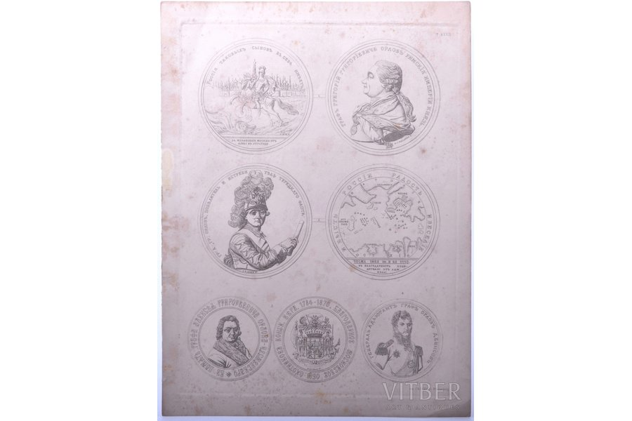 Medals in honor of Russian statesmen and private individuals, 1880-1896, paper, steel engraving, 33 x 24.3 cm, publisher: Иверсен Ю.Б.