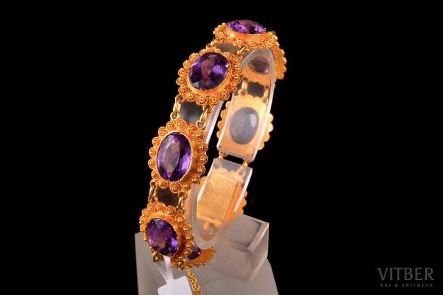 a bracelet, gold, 585 standart, 25,52 g., amethyst, bracelet length 18.5 cm