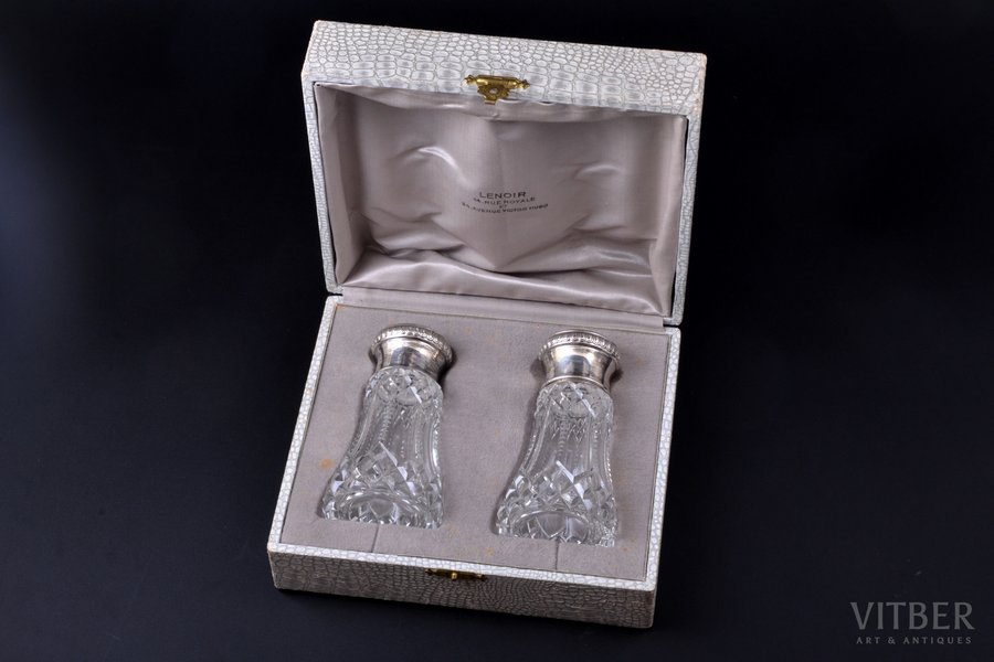 pair of saltcellars, silver, 950 standart, glass, total weight of lids 28.85g, France, h 12.2 cm, in a box; small chips