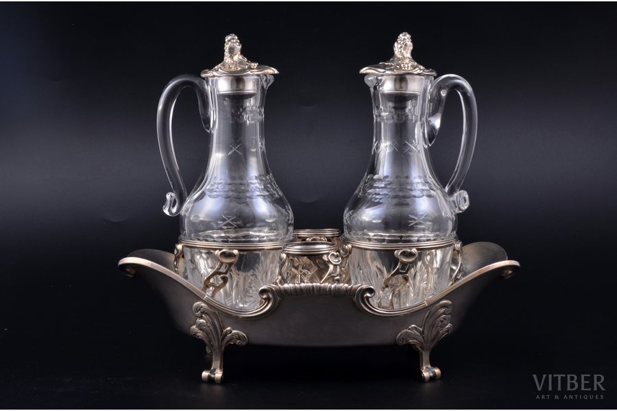 oil and vinegar cruet set, silver, glass, the 18th cent., total weight of silver 819.50g, France, h 21.2 cm