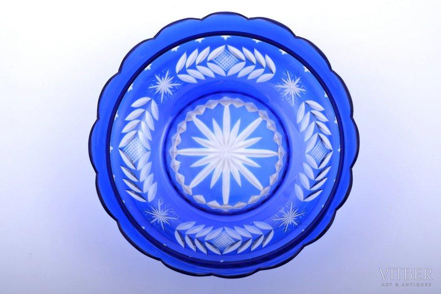 candy-bowl, Iļģuciems glass factory, Latvia, the 20-30ties of 20th cent., Ø 23.5 cm