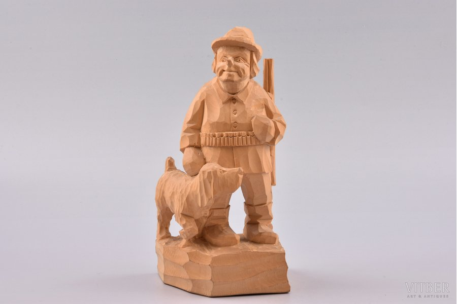 figurative copmosition, Hunter with a dog, by Arnolds Roga, wood, Latvia, USSR, the 50ies of 20th cent., the 60ies of 20th cent., 20 cm