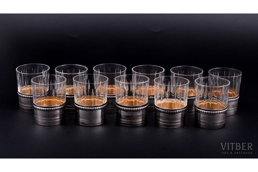 set of 11 beakers, silver, 950 standart, gilding, glass, France, h 6.1 cm, weight of one silver glass holder 11.95 g
