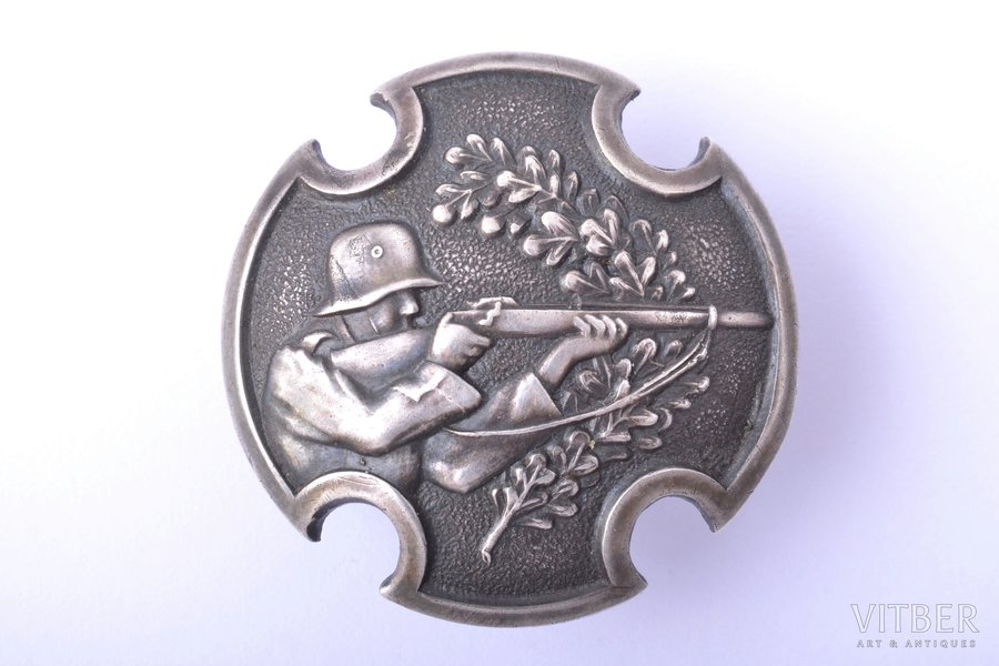badge, Army expert-shooter (automatic rifle shooting), silver, 875 standart, Latvia, 20-30ies of 20th cent., 30.7 x 30.7 mm, 5.55 g, workshop of O. Pērkons, A. Kocejevs