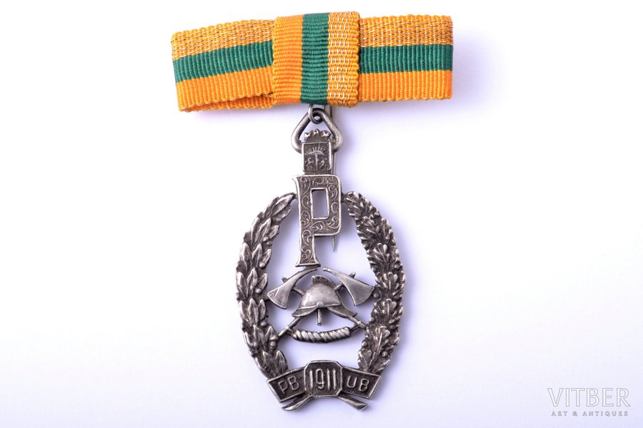 badge, Firefighter Society of Peter the Great, silver, 875 standart, Latvia, 20ies of 20th cent., 47.5 x 26.6 mm