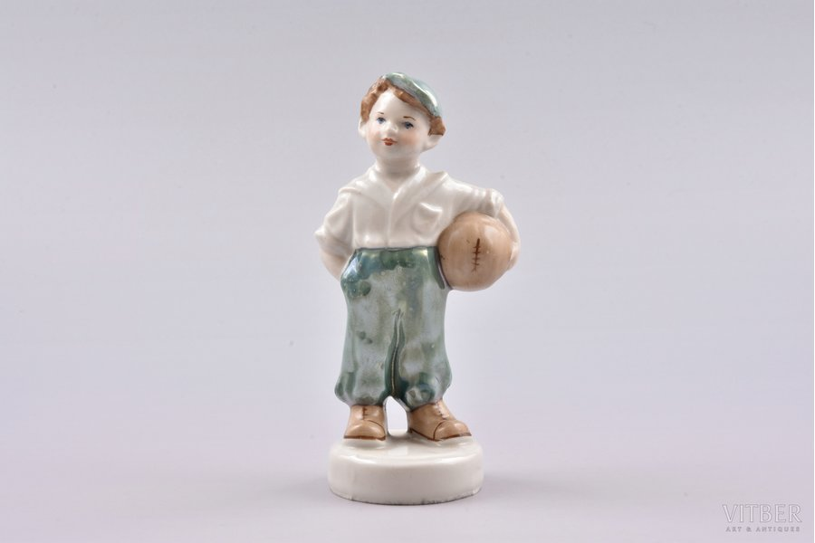 figurine, The young football player, porcelain, Riga (Latvia), USSR, Riga porcelain factory, molder - Zina Ulste, the 50ies of 20th cent., 12 cm, first grade