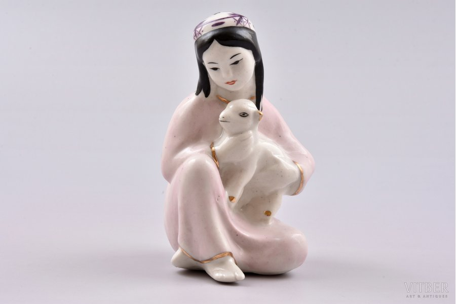 figurine, Girl with a lamb, porcelain, USSR, Gzhel, molder - T.Sapozhnikova, the 50ies of 20th cent., 9 cm, first grade