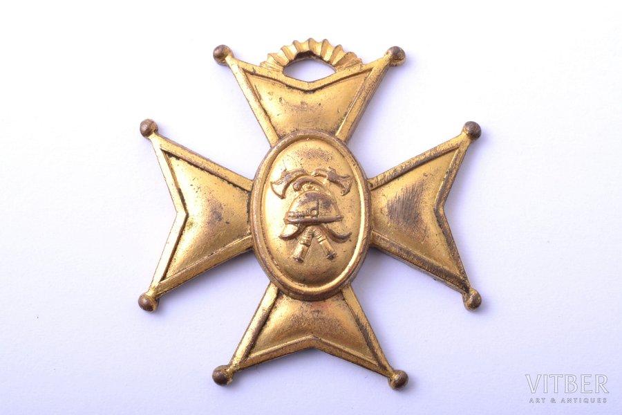badge, Fireman service, Teenete Eest, Estonia, 20-30ies of 20th cent., 31.5 x 30.7 mm