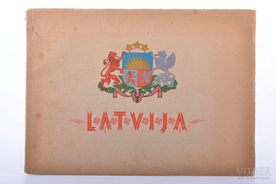 """Latvija"", Latvian album, authorized by UNRRA, Janis Liepinsh, Stuttgart, marks on title page, 22 x 30.3 cm"
