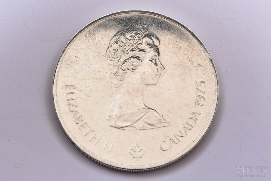 "10 dollars, 1975, 1976 Olympics, Montreal, ""Sailing"", silver, Canada, 48,53 g, Ø 45 mm"