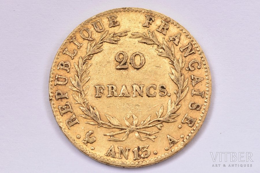 20 francs, 1804-1805, A, AN13, gold, France, 6.40 g, Ø 21.1 mm, XF, VF