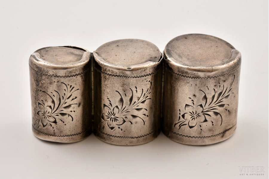 coin holder, silver, 84 standart, engraving, the end of the 19th century, 36.80 g, Riga, Russia, 6.3 x 2.3 x 2.6 cm