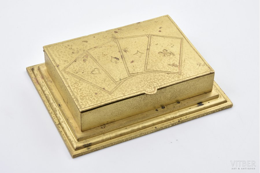 case, for playing cards, brass, the beginning of the 20th cent., 17х13х3.8 cm