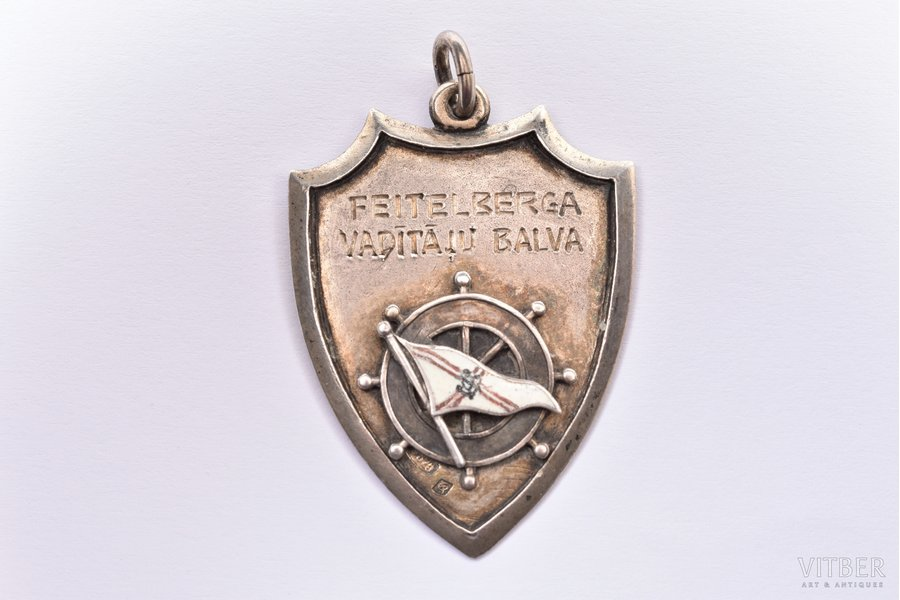badge, FEITELBERG Leadership Award, 875 standart, Latvia, 1939, 41х29.7 mm, 11.55 g