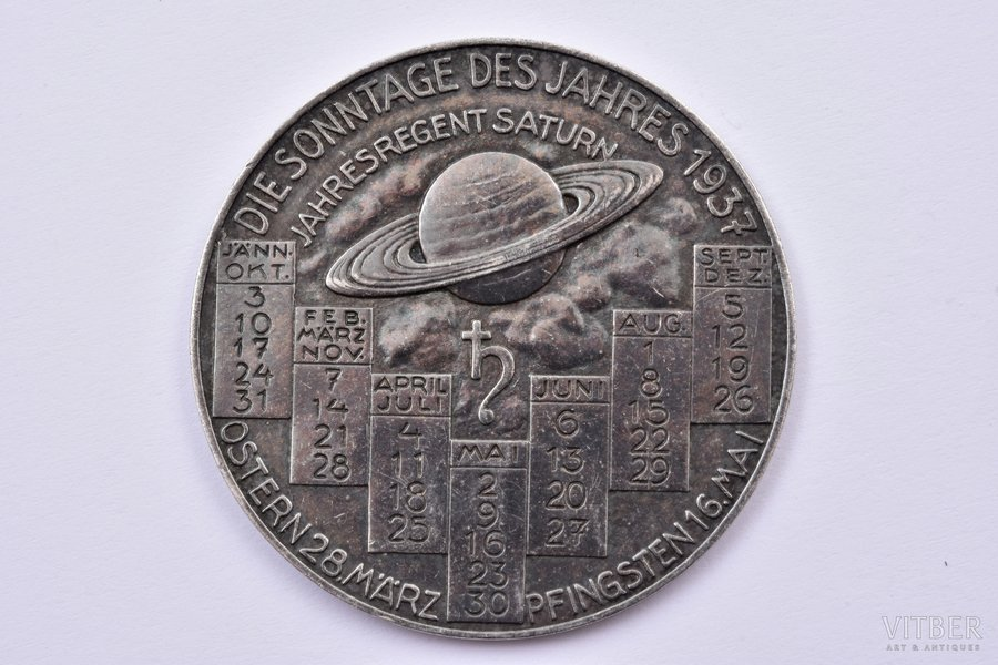 medal, The Sundays of 1937  (Die sonntage des jahres 1937), silver, 900 standart, Germany, 1937, 42.2 mm, 17.65 g