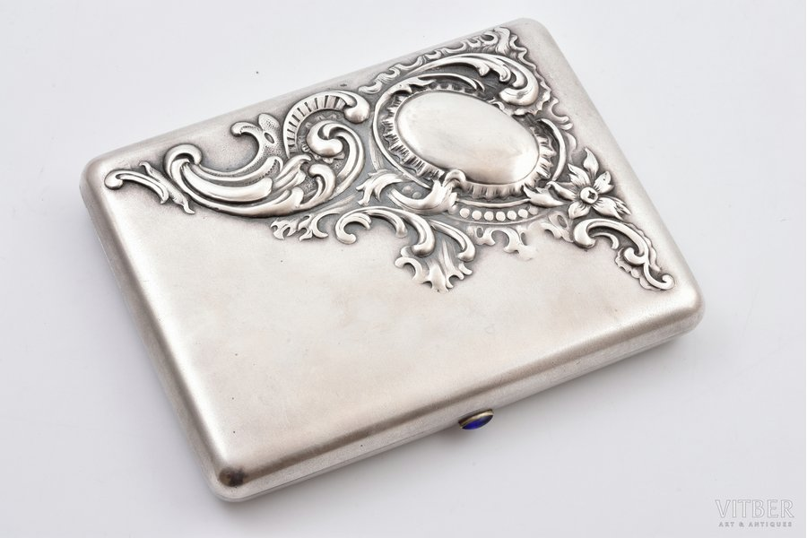 cigarette case, silver, 84 standart, gilding, 1908-1917, 295.45 g, Moscow, Russia, 12.6 x 9.7 x 2.2 cm