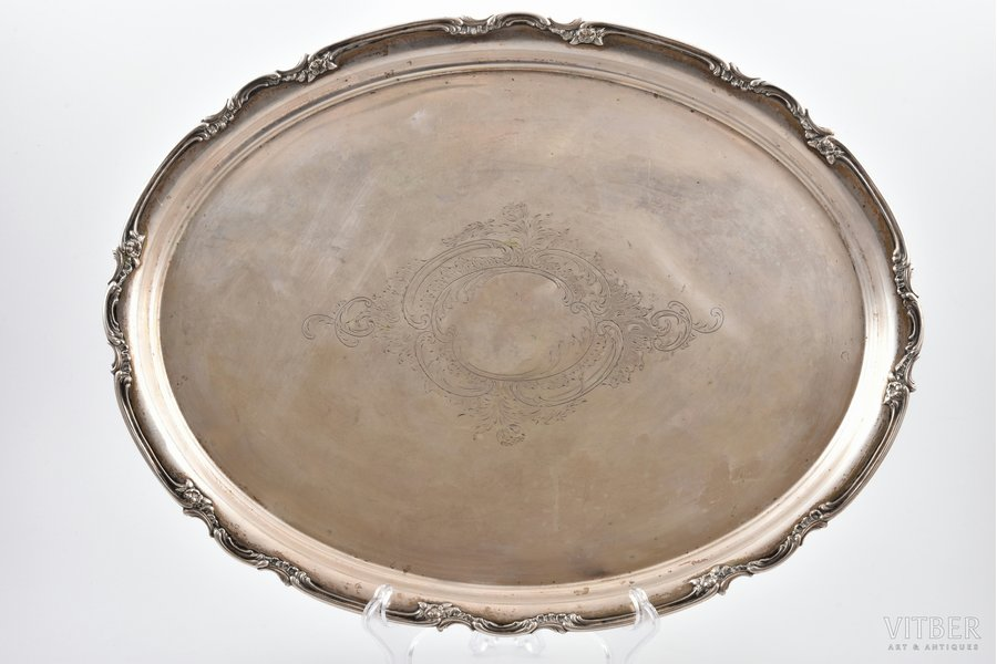 tray, silver, 800 standart, engraving, 1082.2 g, Germany, 45.9 x 35.4 cm