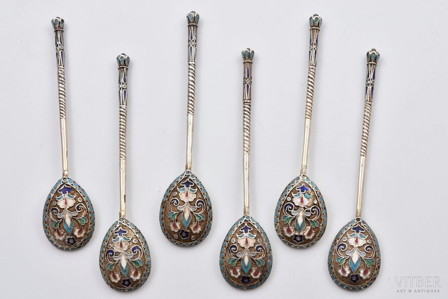 set of 6 coffee spoons, silver, 84 standart, cloisonne enamel, gilding, 1908-1917, 88.60 g, Andreyeva Matryona, Moscow, Russia, 11 cm