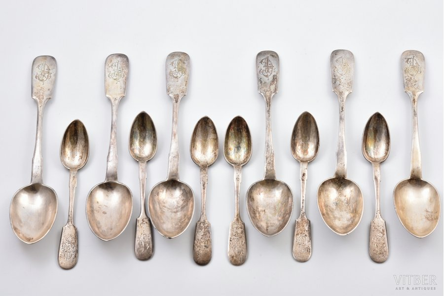 set of 12 spoons: 6 soup spoons and 6 teaspoons, silver, 84 standart, 1896-1907, 569.45 g, by Nicolai Schepelew (Schepilow), Riga, Russia, 22 / 14.8 cm