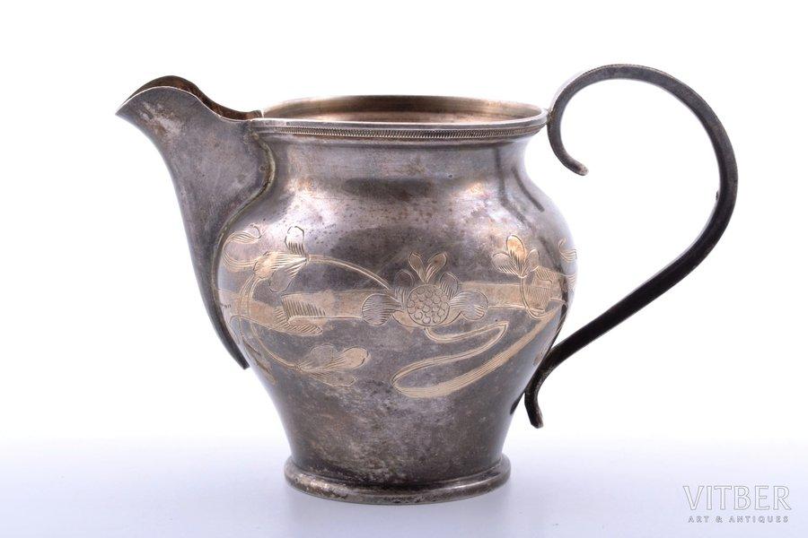cream jug, silver, 84 standart, engraving, gilding, 1908-1917, 82.95 g, workshop of Nikolay Strulev, Moscow, Russia, h 7.6 cm