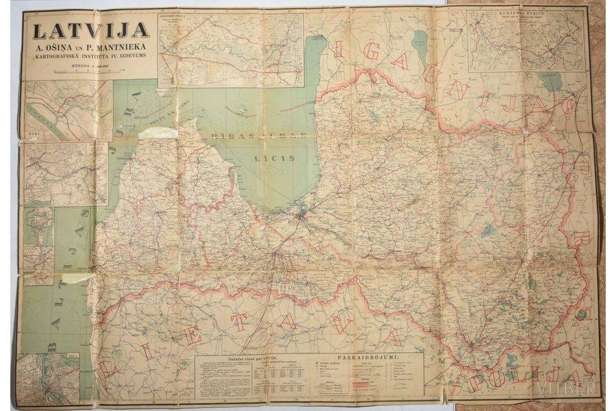 map, Latvia, publisher: A. Ošiņa un P. Mantnieka kartogrāfiskais institūts, Latvia, 20-30ties of 20th cent., 88.5 x 128.5 cm, torn and glued