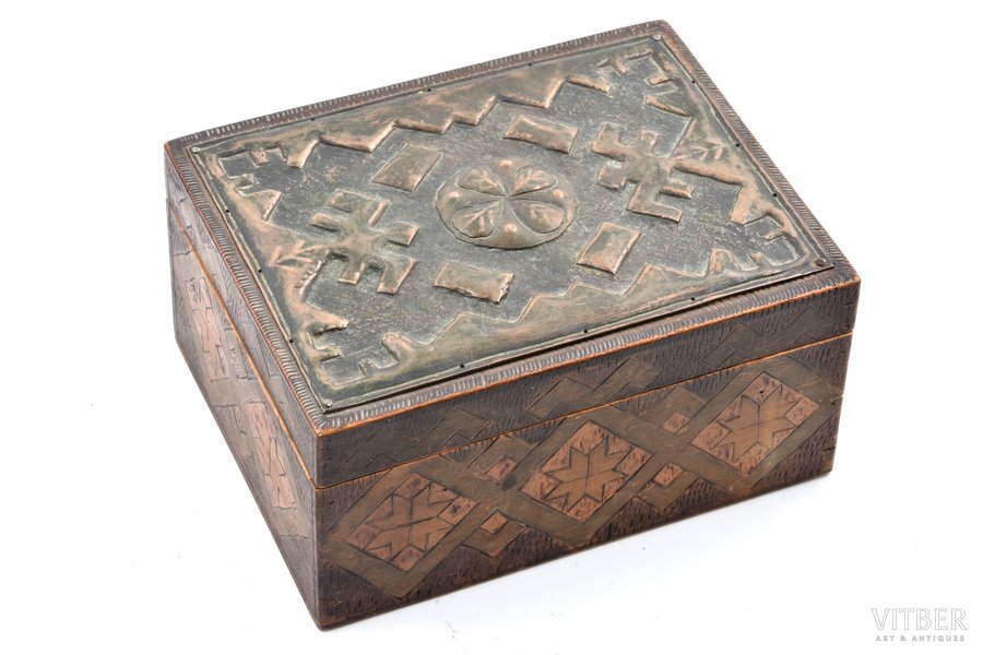 case, traditional motif, wood, copper, Latvia, the 20-30ties of 20th cent., 15 x 12 x 7.5 (13.7 x 10.5) cm