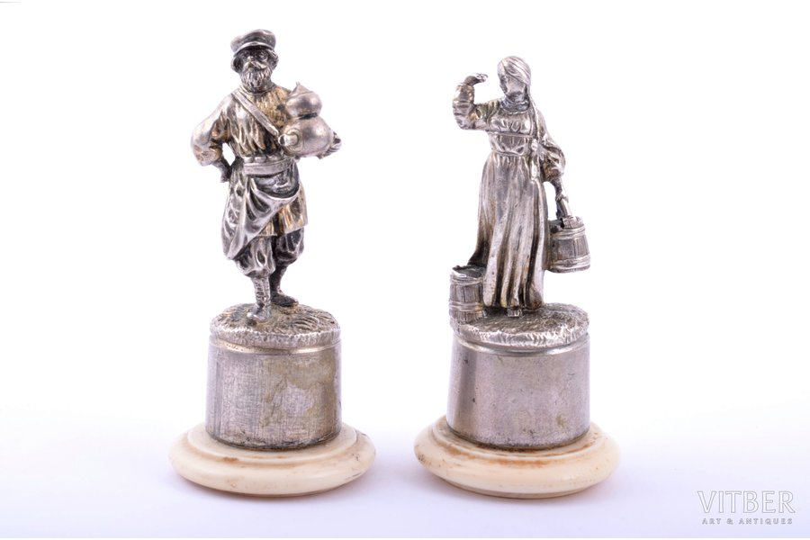 "pair of figurines, silver, 84 standart, ""Peasant man and woman"", 1880-1890, total weight of items 101.65g, St. Petersburg, Russia, 6.4 / 6.2 cm"