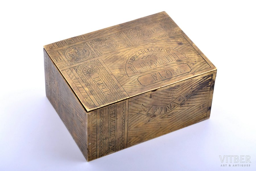 "box, imported tobacco, tobacco factory ""H. Upmann"", brass, Russia, the border of the 19th and the 20th centuries, 5.8 x 12.2 x 9 cm"
