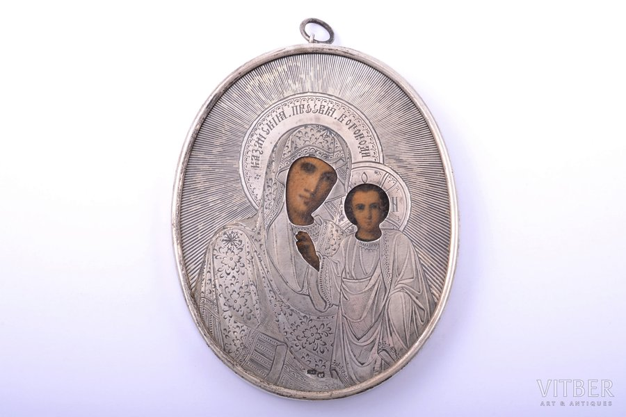 icon, Our Lady of Kazan, silver, painted on zinc, engraving, 84 standart, Russia, 1908-1917, 13.8 x 10.7 x 1.4 cm, weight of silver oklad 75.40 g