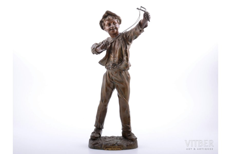 figurine, Boy with slingshot, by H. Tremo, regule, h 42 cm, weight 2300 g., France, sculptor's work