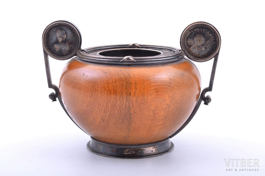 ink-pot, silver, 88 standart, wood, 1898-1904, total weight of item 161g, Nevalainen Ander Johan, St. Petersburg, Russia, 6.7 x 9.3 x 7.4 cm