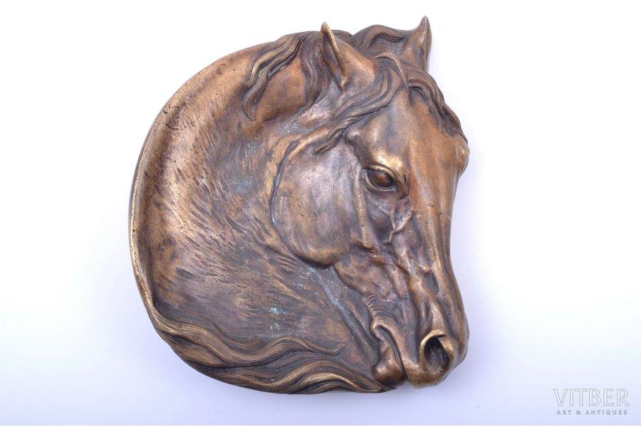 "ashtray, ""Horse head"", model by E. Lansere, bronze, 14 x 12.3 x 3 cm, weight 604.75 g., Russia, K.F.Verfel"