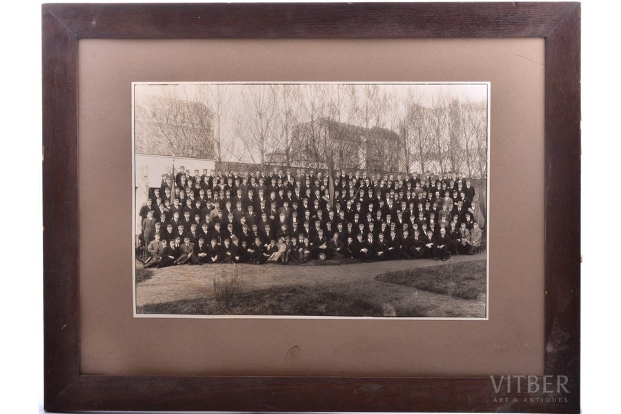 "photography, on cardboard, student corporation ""Lettonia"", Latvia, 20-30ties of 20th cent., 25.2 x 38 cm, in a frame"