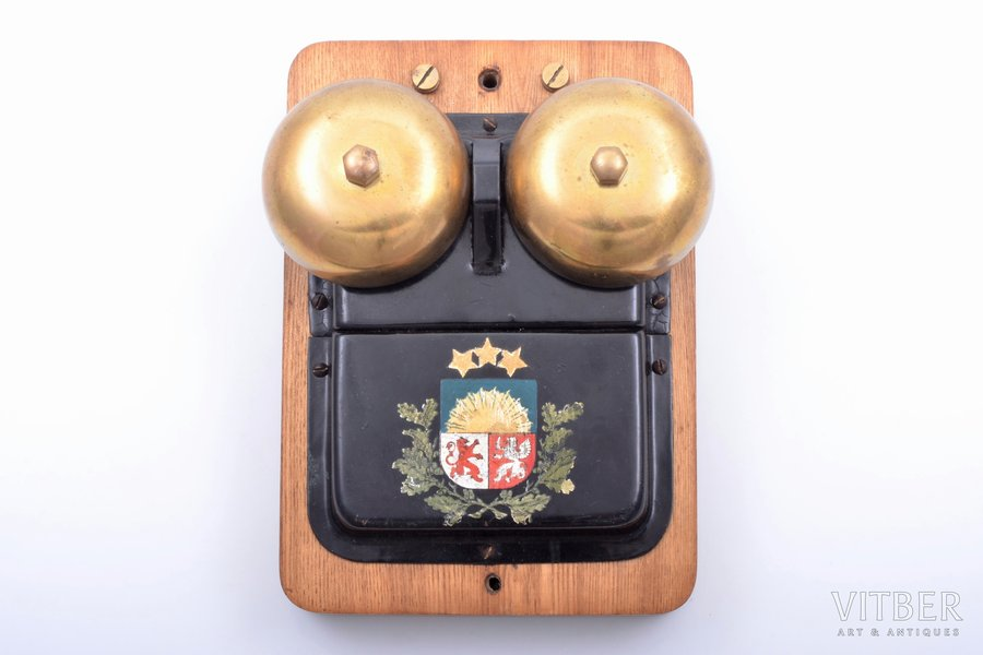 bell, PTVGD, State Border Guard(?), with coat of arms of Latvia, wood, metal, Latvia, the 20-30ties of 20th cent., 17.6 x 12.5 x 8 cm