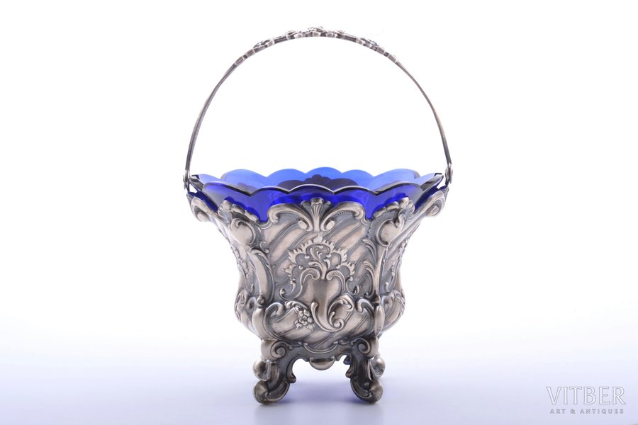 candy-bowl, silver, 915 standart, glass, (weight without inner glass part) 175.80g, Spain, h (with handle) 21 cm