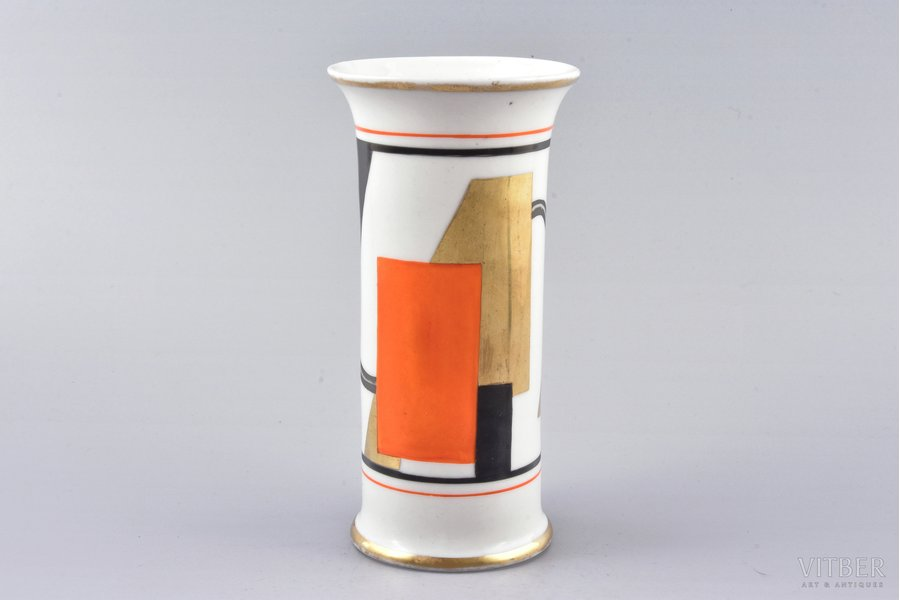 "vase, Suprematism, porcelain, sculpture's work, handpainted by Dmitriy Abrosimov (artist of the porcelain painting workshop ""Baltars"", until the founding of the workshop he worked for many years at the Kuznetsov manufactories in Russia and Riga), Riga (Latvia), 1930, 15.3 cm"