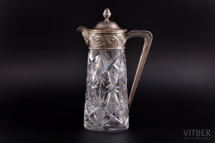 "jug, silver, 84 standart, gilding, crystal, 1908-1917, ""Grachev Brothers"", St. Petersburg, Russia, h 30 cm"