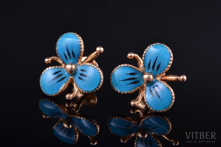 earrings, gold, enamel, 585 standart, 4.09 g., the item's dimensions 1.35 x 1.35 cm, USSR