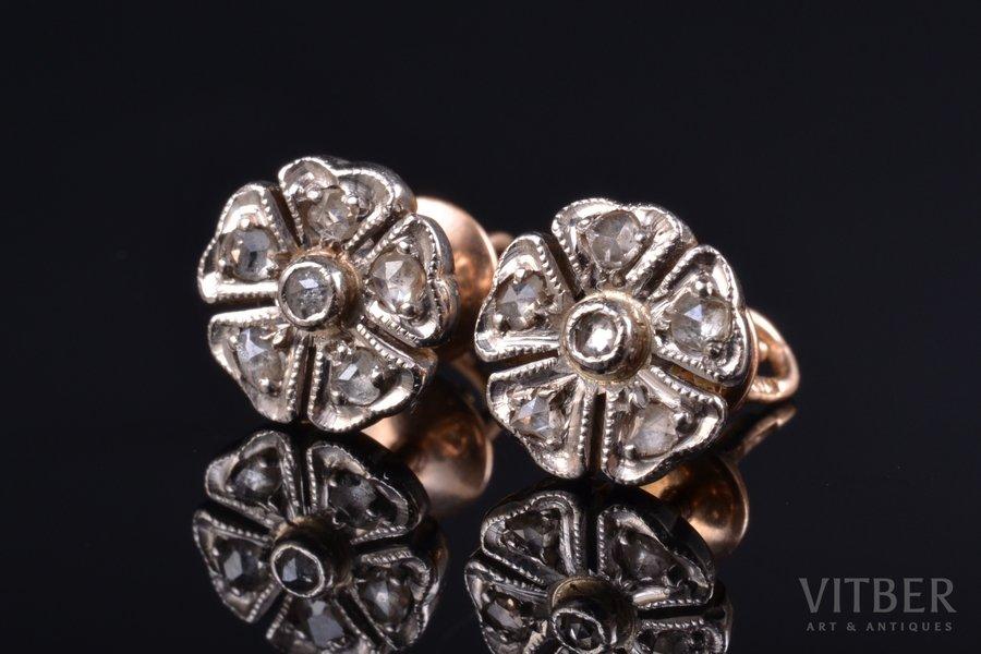 earrings, gold, 583 standart, 3.39 g., the item's dimensions 0.9 x 0.9 cm, diamond, USSR, 2 x 6 diamonds ~ 0.05 ct