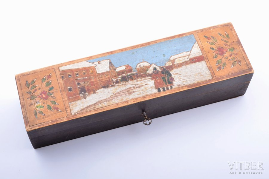 "case, ""Winter landscape"", wood, Russia, the beginning of the 20th cent., 9.8 x 35.1 x 7.3 cm"
