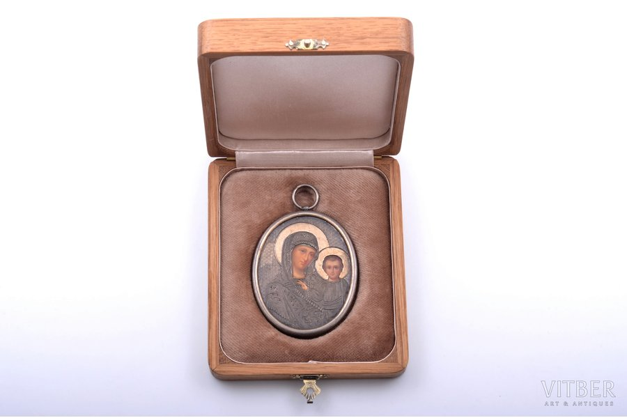 icon, Mother of God, silver, guilding, painted on zinc, engraving, 84 standart, Russia, 1880-1890, 7.1 x 5.4 cm, in a case