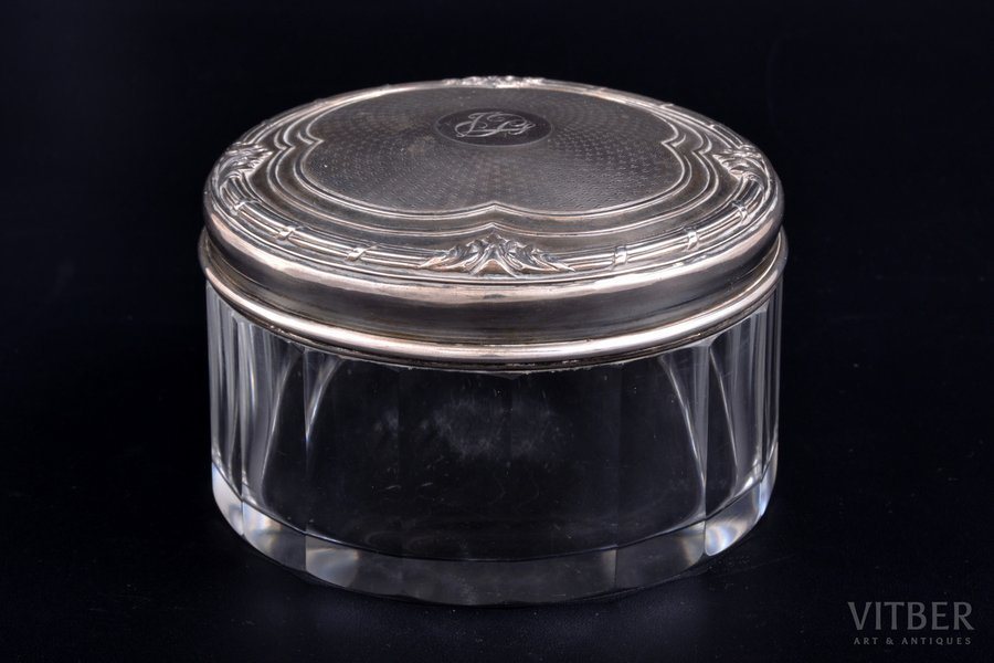 case, silver, 950 standart, gilding, glass, weight of silver lid 62.30g, France, Ø 10.6 cm, h 6.9 cm