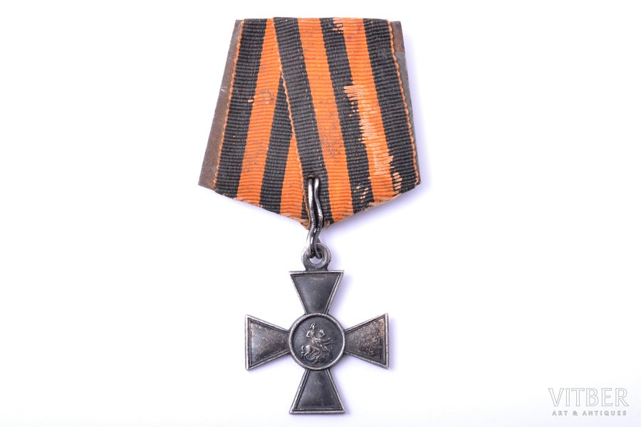 badge, Cross of St. George, № 527208, awarded to Lanse Vilis, rifleman of the 3rd Kurzeme Latvian Riflemen refiment. For the fact that 05/20/1916, on Ikskulsky bridgehead, he was wounded and after bandaging returned to duty with full armament and ammunition, 4th class, silver, Russia, 40.9 x 34.4 mm, 10.24 g